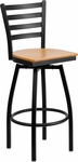 Black Metal Ladder Back Barstool with Natural Wood Swivel Seat [BFDH-706688LAD-NAT-BAR-TDR]