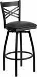 Black Metal ''X'' Back Barstool with Black Vinyl Swivel Seat [BFDH-706688X-BK-BAR-TDR]