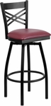 Black Metal ''X'' Back Barstool with Burgundy Vinyl Swivel Seat [BFDH-706688X-BY-BAR-TDR]