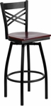 Black Metal ''X'' Back Barstool with Mahogany Wood Swivel Seat [BFDH-706688X-MAH-BAR-TDR]