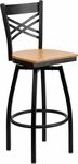 Black Metal ''X'' Back Restaurant Barstool with Natural Wood Swivel Seat [BFDH-706688X-NAT-BAR-TDR]