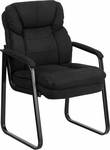 Black Microfiber Executive Side Chair with Sled Base [GO-1156-BK-GG]