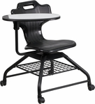 Black Mobile Classroom Chair with Swivel Tablet Arm [YU-YCX-015-GG]