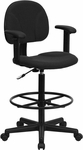 Black Patterned Fabric Ergonomic Drafting Chair with Height Adjustable Arms (Adjustable Range 22.5''-27''H or 26''-30.5''H) [BT-659-BLK-ARMS-GG]
