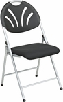 Work Smart Plastic Folding Chair with Fan Back and Padded Mesh Seat - Set of 4 - Black with Silver Frame [FC8100NS-3-OS]