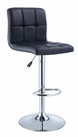 Black Quilted Faux Leather & Chrome Adjustable Height Bar Stool [212-851-FS-PO]