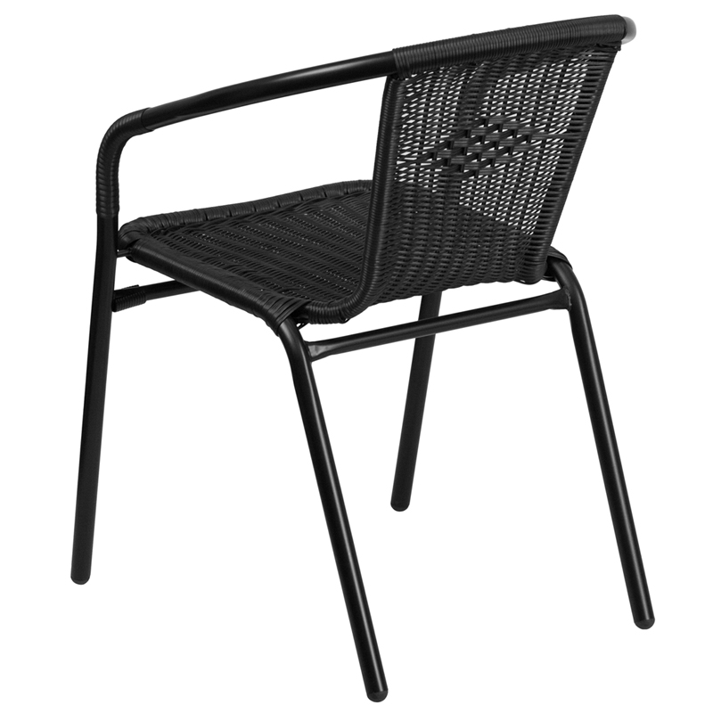 Black Rattan Indoor Outdoor Restaurant Stack Chair Tlh