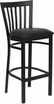 Black School House Back Metal Restaurant Barstool with Black Vinyl Seat [BFDH-87BKBARHSC-TDR]