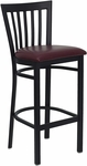Black School House Back Metal Restaurant Barstool with Burgundy Vinyl Seat [BFDH-87BYBARHSC-TDR]