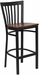 Black School House Back Metal Restaurant Barstool with Cherry Wood Seat [BFDH-87CWBARHSC-TDR]