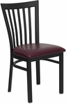 Black School House Back Metal Restaurant Chair with Burgundy Vinyl Seat [BFDH-87BYHCS-TDR]