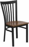 Black School House Back Metal Restaurant Chair with Cherry Wood Seat [BFDH-87CWHCS-TDR]