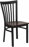 Black School House Back Metal Restaurant Chair with Mahogany Wood Seat [BFDH-87MWHCS-TDR]