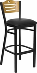Black Slat Back Metal Restaurant Barstool with Natural Wood Back & Black Vinyl Seat [BFDH-77524BKBARTALS-TDR]