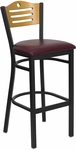 Black Slat Back Metal Restaurant Barstool with Natural Wood Back & Burgundy Vinyl Seat [BFDH-77524BYBARTALS-TDR]