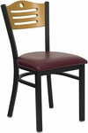 Black Slat Back Metal Restaurant Chair with Natural Wood Back & Burgundy Vinyl Seat [BFDH-77524BYTALS-TDR]