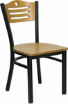 Black Slat Back Metal Restaurant Chair with Natural Wood Back & Seat [BFDH-77524NATWTALS-TDR]
