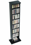 Slim Multimedia Storage Tower with 7 Adjustable Shelves - Black [BMA-0160-FS-PP]