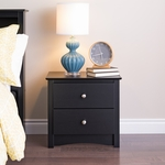 Sonoma 2 Drawer 21.75''H Nightstand with Brushed Nickel Knobs - Black [BDC-2422-FS-PP]