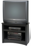 Sonoma 32''W Corner TV Stand with 2 Open Storage Compartments - Black [BTV-3224-FS-PP]