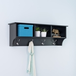 Sonoma Entryway Cubbie Shelf with 3 Open Storage Compartments and 4 Coat Hooks - Black [BEC-4816-FS-PP]