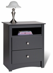 Sonoma 28''H 2 Drawer Nightstand with Open Storage - Black [BDC-2428-FS-PP]