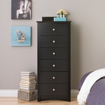 Sonoma 53.25''H 6 Drawer 53.25''H Chest with Dark Pewter Finished Metal Knobs - Black [BDC-2354-K-FS-PP]