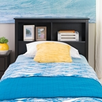 Sonoma Twin Size Bookcase Headboard with 2 Open Storage Compartments - Black [BSH-4543-FS-PP]