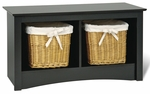 Sonoma 36.25''W Twin Cubbie Bench with 2 Open Storage Compartments - Black [BSC-3620-FS-PP]