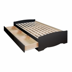 Sonoma Twin Size Mate's Platform Storage Bed with 3 Drawer Storage - Black [BBT-4100-2K-FS-PP]