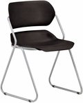 Martisa Armless Plastic Stack Chair - Black Seat with Silver Frame [202-SLVR-BLK-MFO]