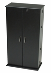 Tall Locking Media Storage Cabinet Chrome Colored Door Handles - Black [BVS-0205-FS-PP]