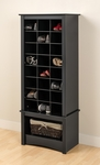 Multi-Purpose 61.25''H Shoe Cubbie Cabinet with 24 Cubbies and Large Open Storage Area - Black [BUSR-0008-1-FS-PP]
