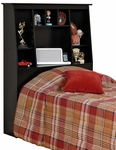 Twin Size Slant-Back Bookcase Headboard with 8 Open Storage Compartments - Black [BSH-4556-FS-PP]
