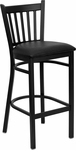 Black Vertical Back Metal Restaurant Barstool with Black Vinyl Seat [BFDH-88398BKBARTRV-TDR]