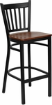 Black Vertical Back Metal Restaurant Barstool with Cherry Wood Seat [BFDH-88398CHYBARTRV-TDR]