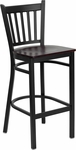 Black Vertical Back Metal Restaurant Barstool with Mahogany Wood Seat [BFDH-88398MAHBARTRV-TDR]