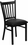 Black Vertical Back Metal Restaurant Chair with Black Vinyl Seat [BFDH-88398BKTRV-TDR]