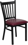 Black Vertical Back Metal Restaurant Chair with Burgundy Vinyl Seat [BFDH-88398BYTRV-TDR]