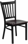 Black Vertical Back Metal Restaurant Chair with Mahogany Wood Seat [BFDH-88398MWTRV-TDR]