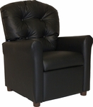 Kids Vinyl Recliner with Button Tufted Back - Black [400-BLACK-VINYL-FS-BZ]