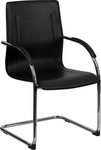 Black Vinyl Side Chair with Chrome Sled Base [BT-509-BK-GG]