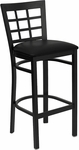 Black Window Back Metal Restaurant Barstool with Black Vinyl Seat [BFDH-85BKBARNIW-TDR]