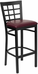 Black Window Back Metal Restaurant Barstool with Burgundy Vinyl Seat [BFDH-85BYBARNIW-TDR]