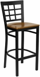 Black Window Back Metal Restaurant Barstool with Cherry Wood Seat [BFDH-85CWBARNIW-TDR]