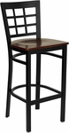 Black Window Back Metal Restaurant Bar Stool with Mahogany Wood Seat [BFDH-85MWBARNIW-TDR]
