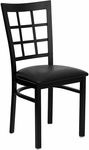 Black Window Back Metal Restaurant Chair with Black Vinyl Seat [BFDH-85BKNIW-TDR]
