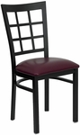 Black Window Back Metal Restaurant Chair with Burgundy Vinyl Seat [BFDH-85BYNIW-TDR]