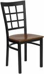 Black Window Back Metal Restaurant Chair with Cherry Wood Seat [BFDH-85CWNIW-TDR]