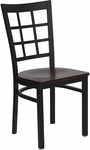 Black Window Back Metal Restaurant Chair with Mahogany Wood Seat [BFDH-85MWNIW-TDR]